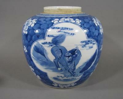 Nice Antique Chinese KANGXI Blue & White Porcelain Jar, Foo Dog Decoration