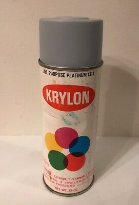Vintage Krylon Spray Paint Can Platinum 1314 Not Used W/ Paper Label