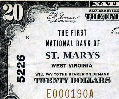 HGR FRIDAY 1929 $20 National ((St Mary's WEST VIRGINIA)) AWESOME GRADE