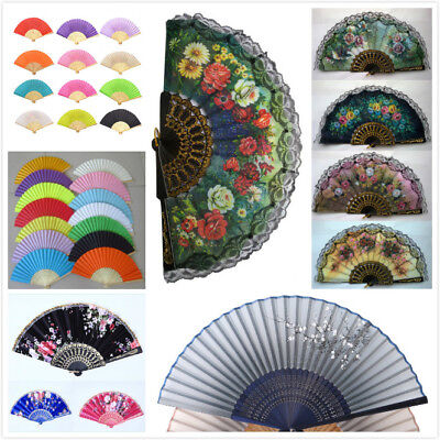 USA Lot Hand Held Fan Dance Wedding Party Decor Fan Fabric Folding Flower Fan