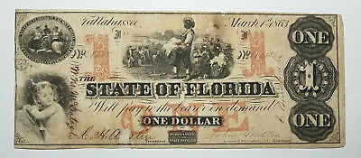 1863 Cr.19 $1 The State of FLORIDA Note - CIVIL WAR Era w/ SLAVES