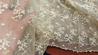 """ANTIQUE VINTAGE LACE LOT 2 PIECES 15""""by 30"""" each embroidered netting"""