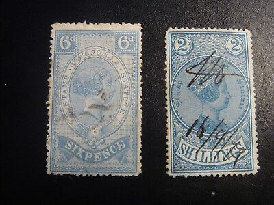 1884 Victoria 6d & 2/- Blue Stamp Duty Used Stamps