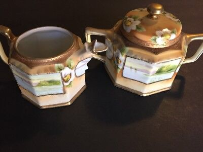 Antique RARE Nippon Hand Painted Cream And Sugar Ton Of GOLD & Lake GORGEOUS!