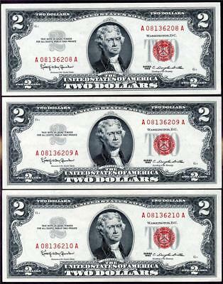 HGR FRIDAY 1963 $2 U.S.Note ((3 Consecutive#) Appears SUPERB GEM UNCIRCULATED