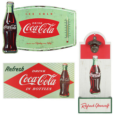 NEW (Set) Coke Wood Opener & Thermometer Sign & Drink In Bottles Retro Signs
