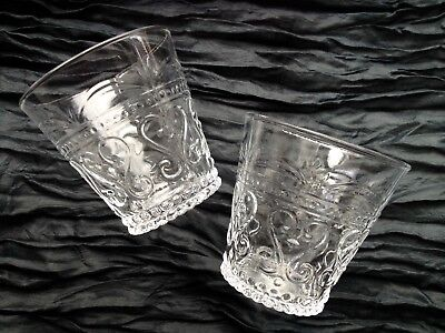 Exquisite embossed (clear) glass tumblers, set of 6 - handcrafted in Thailand