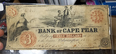 1859 $3 The Bank of Cape Fear - Wilmington, NORTH CAROLINA (Ashville Branch)
