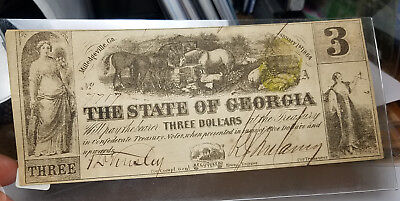 1864 Cr.28 $3 The State of GEORGIA Note - CIVIL WAR Era