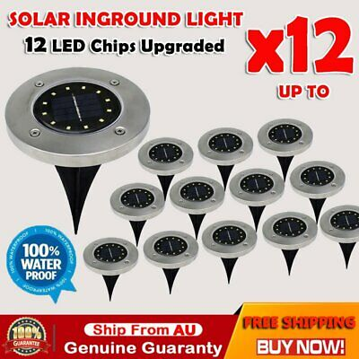 Solar Powered 12 LED Buried Inground Recessed Light Garden Outdoor Deck Path