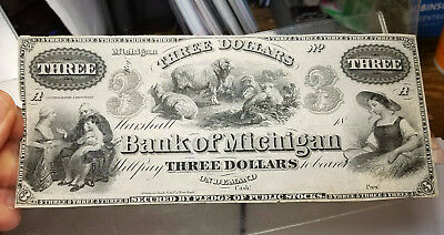 1800's $3 The Bank of Michigan - Marshall, MICHIGAN Note