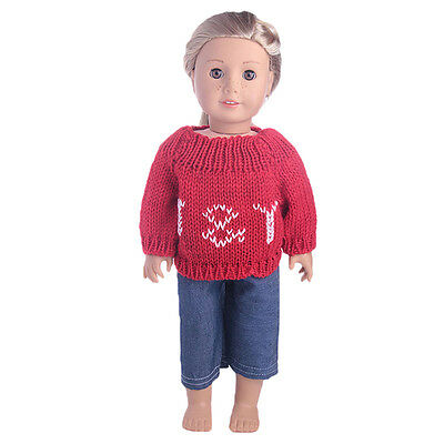 2017 Cute Handmade T-shirt  Dress Sweater  For 18inch American Girl Doll Party.