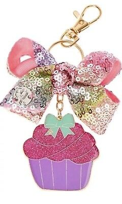 JoJo Siwa Rainbow Sequin Cupcake Bow Key Chain Ring Backpack Birthday Clip NEW