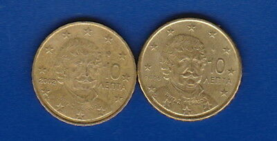 GREECE  -  EUROS  -  10 Cent Euros (x2) -  2002 & 2006