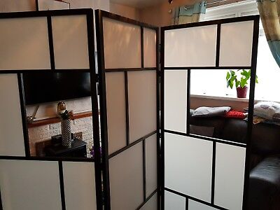 BLACK WHITE Japanese Style 3 panel folding privacy screen room