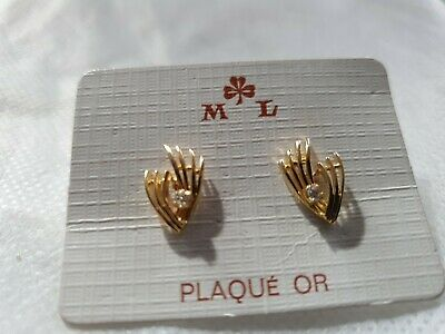 Fast Delivery M L Gold Plated Studs With Diamonty Made In France Earrings