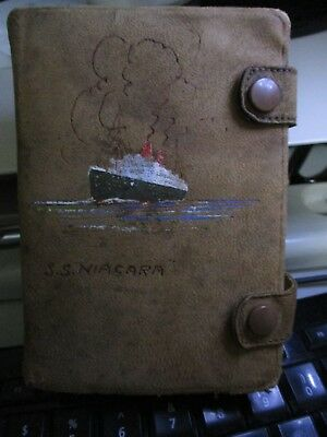 "S.S. "" NIAGARA "" Twin Card Pack in Leather case. Ship image painted front cover"