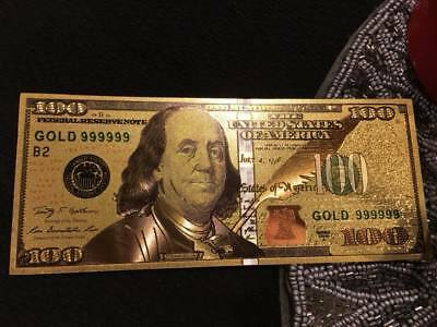 Certified-24K Gold Plated Us New $100 Paper Dollar Collectors Bill