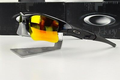 2520ff4768 New OAKLEY FLAK JACKET XLJ Polished Black   Fire Iridium 03-899 Sunglasses