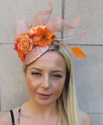 Orange Rose Gold Flower Feather Hat Hair Fascinator Races Ascot Pink Floral 7256