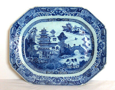 Large Chinese 18Th Century Blue And White Platter 16""