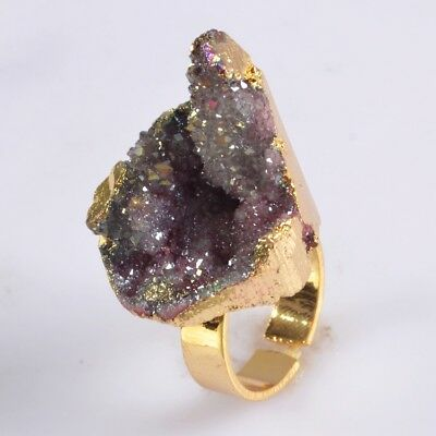 Size 6.5 Hot Pink Agate Titanium Druzy Adjustable Ring Gold Plated T059626