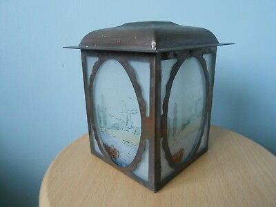 Vintage Art Deco Coloured Frosted Glass/metal Porch Lampshade