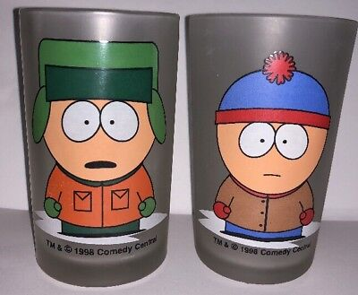 1998 Comedy Central SOUTH PARK Stan & Kyle Matching Set of 2 Frosted Glasses