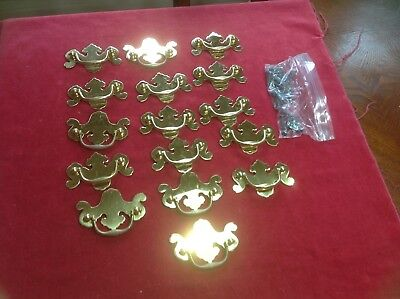 16 Vtg Brass Chippendale Style Dresser Drawer Pulls/Handles        FREE SHIPPING