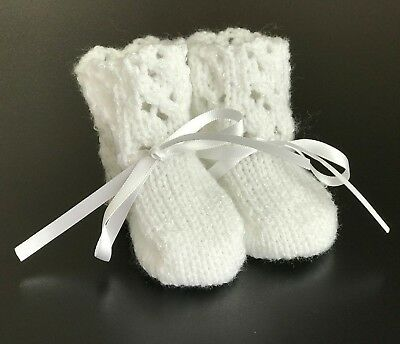 New Hand Knitted Baby White Shimmer  Booties Fits 0 - 3 mths