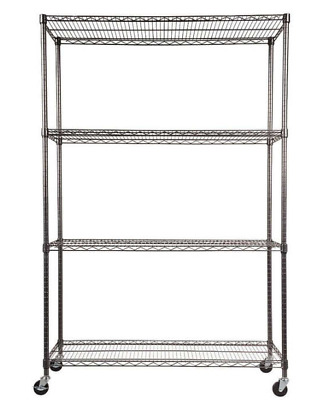 4-Shelf Wire Shelving Rack Black Anthracite Strong Welded Wire Construction