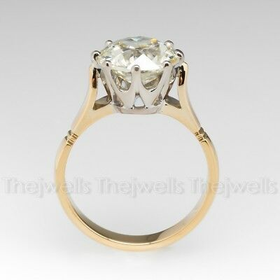 Art Deco 3 Ct Round Moissanite 925 Sterling Silver Engagement Vintage Ring 1850