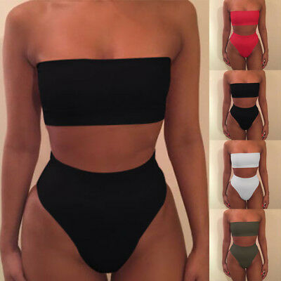 Womens Bandeau Swimwear Push-Up Bra High Waisted Bottom Bikini Set Swimsuit Sexy
