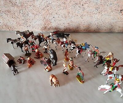 Gruppe alte Indianer-Cowboys-Winnetou-Old Shatterhand-Karl May-Lineol-Elastolin