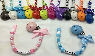 ❤ Personalised Dummy Clip ❤ Up To 12 Letters ❤ Many Colours ❤ With/ Without Bow❤