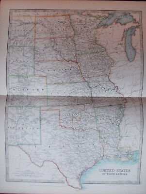 Antique Map 1904 United States of America Northern Sheet USA by W & AK Johnston