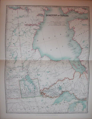 Antique Map 1904 CANADA West Central Sheet by W & AK Johnston