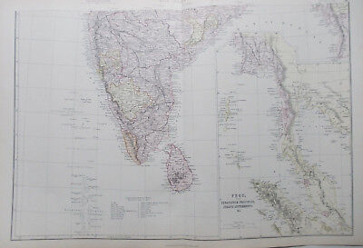 Antique Map  INDIA (two sheets)   Circa 1882 (Malaya, Straits Settlements)