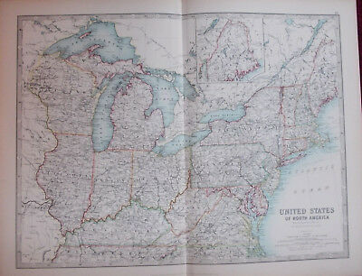 Antique Map 1904 United States of America North E. Sheet USA by W & AK Johnston