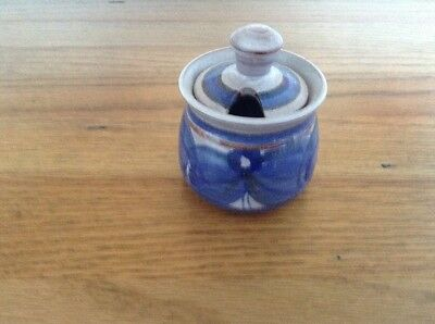 Skegness Blue Pottery Mustard Pot With Lid