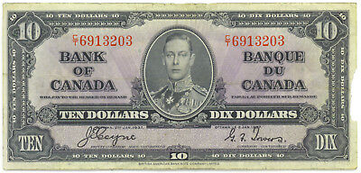 Bank of Canada 1937 $10 Ten Dollars Coyne-Towers C/T Prefix VF Missing Piece