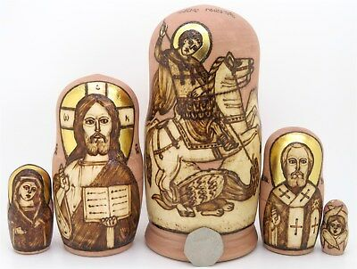 Russian Nesting Dolls PYROGRAPHY 5 Icon St. George and the Dragon Jesus St. Nick