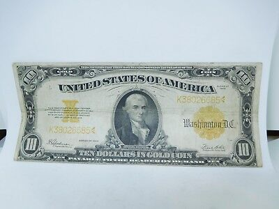 1922 US $10 Large Size Gold Note Fine two pin holes