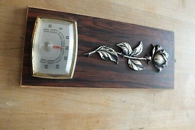 Wandthermometer Zimmerthermometer älter Holz + Rose Metall? Thermometer