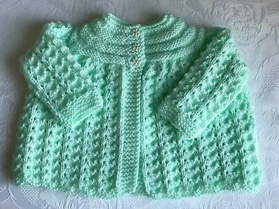 New Hand Knitted Baby Girls Mint Green  Matinee cardigan fits 0-3 months