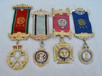4 Hallmarked Order of The Buffaloes Solid Silver Gilt & Enamel Jewels.