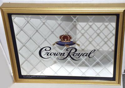 Crown Royal Mirrored Light Up Gold Framed Advertising Bar Wall Sign