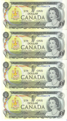 Bank of Canada 1973 Lot of 4 Consecutive Notes AU++ Crow- Bouey