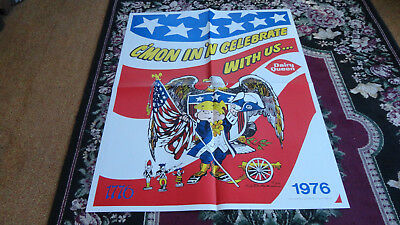 Large Vintage Dairy Queen Antique Advertising Bicentennial Poster Sign 1976