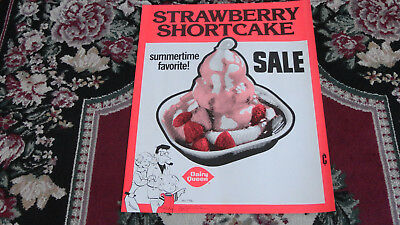 Vintage Dairy Queen Antique Ad Dennis and Family Strawberry Shortcake Sign 1976